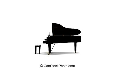Grand piano rotating and zoom in on white background