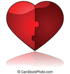 Perfect match - Glossy illustration showing two halves...