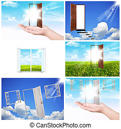 Windows and doors - Collage. Windows and doors. A palm and...