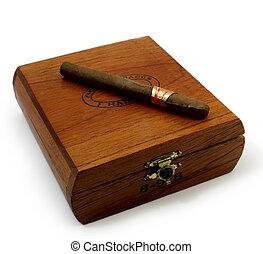 last cigar - left last cigar on brown wooden box