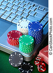 Online Poker - On line internet poker concept