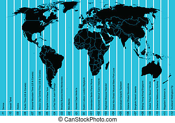 World map and time zones