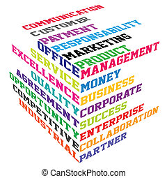 Colored cube with business terms