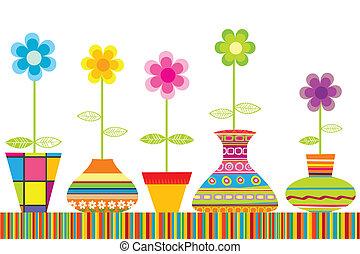 set, colorato, vasi fiori