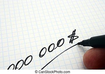 000000 dollars write on notebook sheet