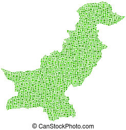 Map of Pakistan (Middle East) in a mosaic of green squares