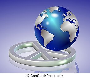 world peace - shiny earth globe positioned inside silver...