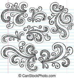 Sketchy Doodle Swirls Vector Set