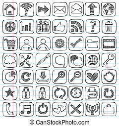 Web Icons Signs Sketchy Doodle Set