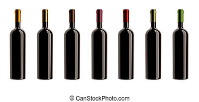 capsules colors bottles collection - collection of wine...