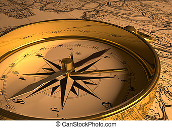 Compass on map (3D rendering)