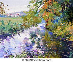 otoño, paisaje, Pintura