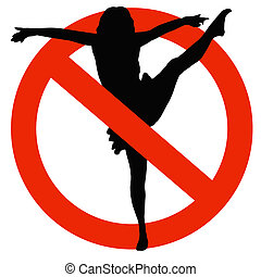 Dancer Silhouette on Traffic Prohibition Sign - No Dancing...