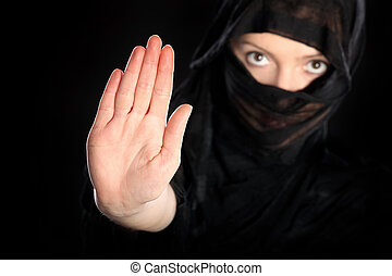 Stop to oppression - A picture of a young arabic woman...