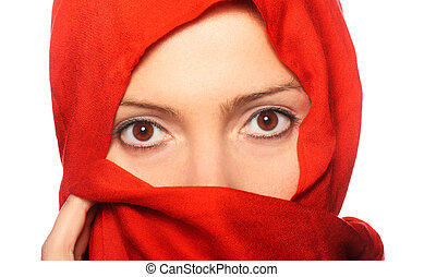 Red scarf - A picture of a young muslim woman in a red scarf...