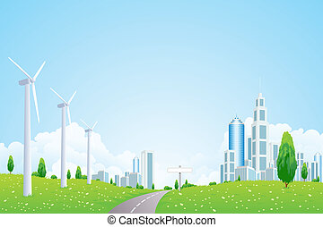 Green Landscape with Wind Power Station Road and Modern City