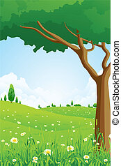 Green Landscape with Flowers and Trees - Great Green...