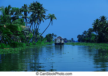 houseboat - Picturesque tropical landscape with traditional...