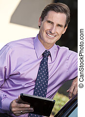 Man Successful Businessman with Tablet Computer