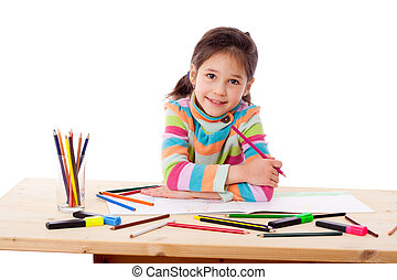 Inspired girl draw with crayons
