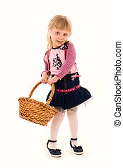 Portrait of happy little girl with basket isolated on white