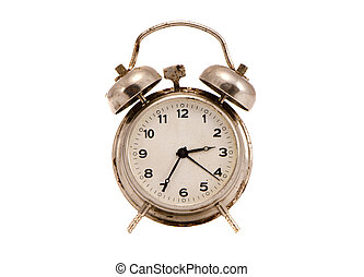 isolated and grungy vintage metal clock