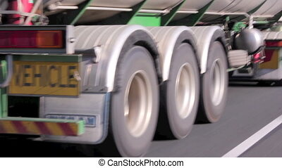 Semi Trailer Wheels - Close up of wheels of a semi trailer...