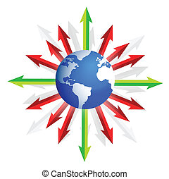 globe and arrows going to different directions