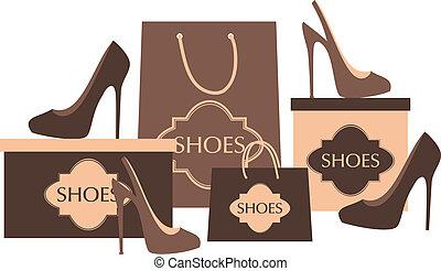Shoe Shop - Illustration of elegant high heels, shopping...