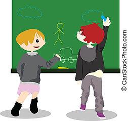cartoon children activity - draw on chalk board