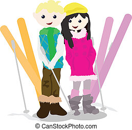 cartoon children activity - skiing