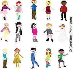cartoon children - fashion cartoon children of girls and...