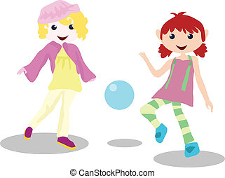 cartoon children activity - playing ball