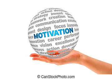 Motivation - Hand holding a roung 3d Motivation Sphere