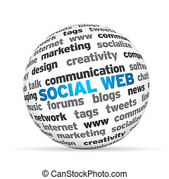 Social Web - 3d Sphere with the word Social Web .