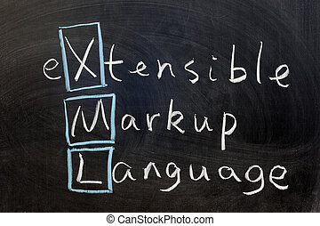 XML, extensible markup language - Chalk writing - XML,...