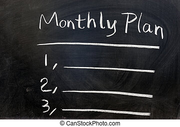 Monthly plan - Chalk writing - Monthly plan on chalkboard