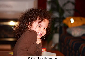cute smiling biracial girl - cute little biracial girl...