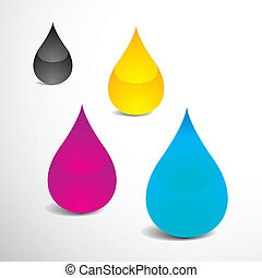 Offset Ink Drops - Vector Illustration of Four Drops With...
