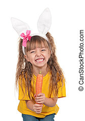 Little girl with bunny ears - Portrait of happy little girl...