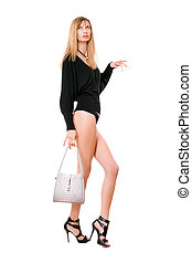 Pretty blonde woman with the purse