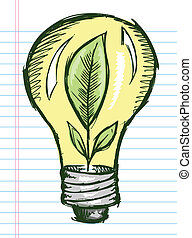 Doodle Sketch Light Bulb with Plant inside Vector...