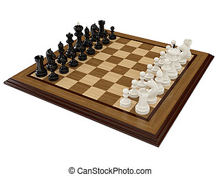 Chess board with figures - 3d render of chess board with...