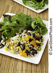Quinoa Salad with Field Greens - Plate of quinoa vegetable...