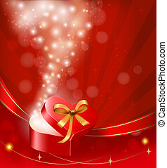 Valentine`s day background with open gift box