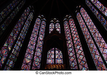 stained glass - interior of the Saint Chapelle, Paris,...