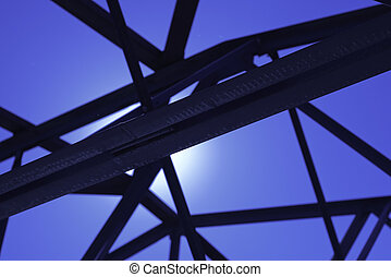 black steel trusses in industrial building - industrial...