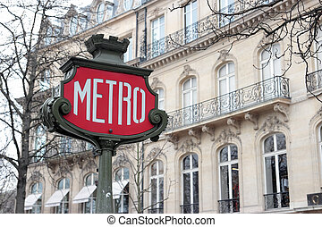 Retro Metro Sign  - Retro Metro sign in Paris, France