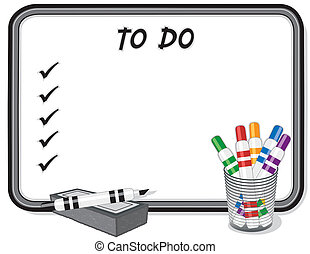 To Do List Whiteboard, Marker Pens