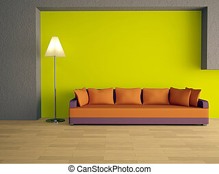 Sofa with orange pillows near a green wall